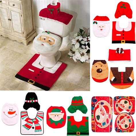 santa claus bathroom set fengrise santa claus rug toilet seat cover bathroom set