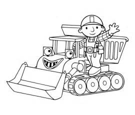 drawing bob builder black white color child coloring