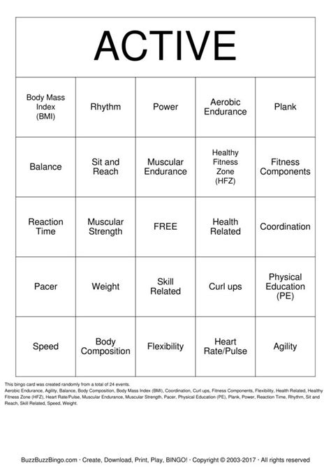 active bingo cards to download print and customize - Active Com Gift Card