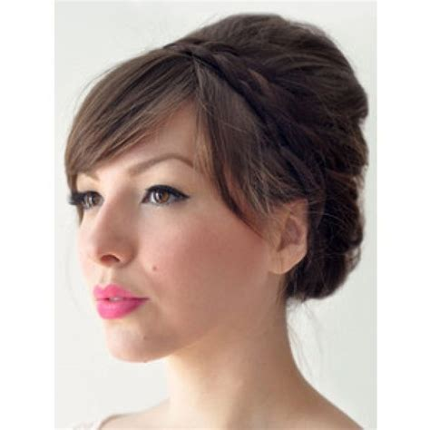 braided hairstyles with side bangs 27 best images about wedding hair on pinterest birdcage