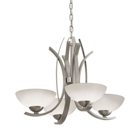 shop portfolio lebach 4 light brushed nickel chandelier at