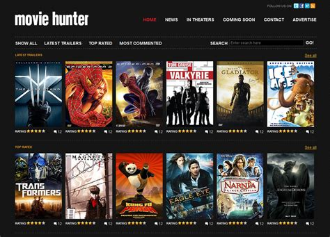 free website template movie hunter free web templates
