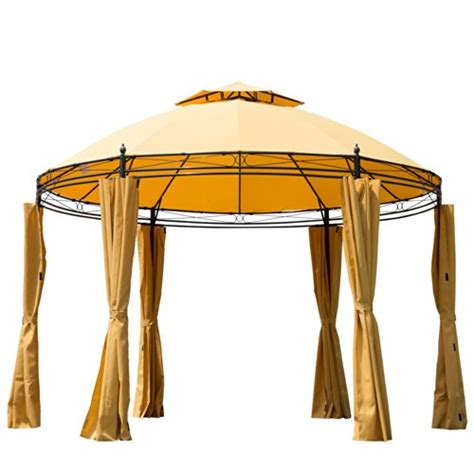 round gazebo with curtains outsunny round outdoor patio canopy party gazebo with