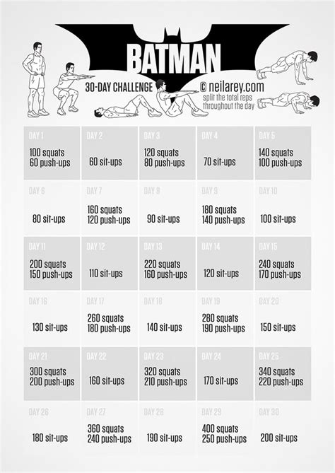 30 day workout plan for men at home batman challenge healthy body building pinterest