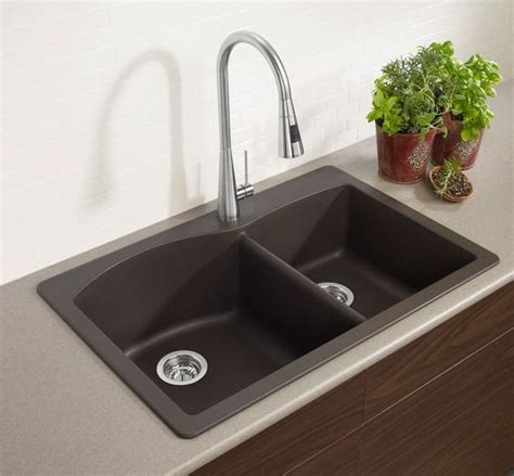 tropic brown granite with black silgranit sink kitchen blanco 400343 diamond double basin drop in or undermount