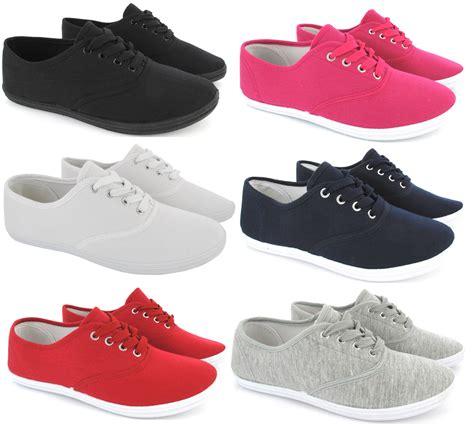 flat shoes with laces womens plimsoles lace up flat pumps plimsolls