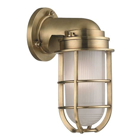 Nautical Wall Sconce Hudson Valley Lighting 240 Agb Aged Brass Carson 1 Light Nautical Outdoor Wall Sconce With