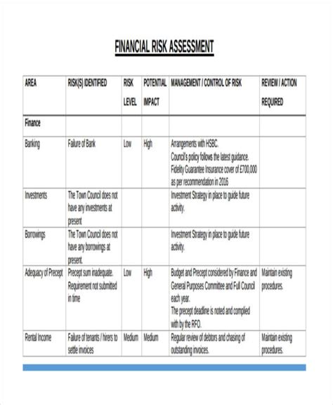 financial assessment template 37 risk assessment templates free premium templates