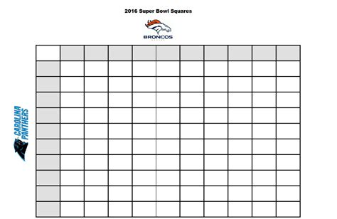free football square template free printable 2016 superbowl betting squares stylish