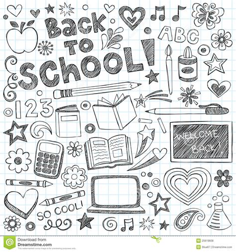 free doodle eps back to school supplies sketchy doodles vector set stock