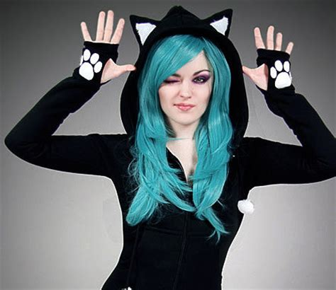 Cat Hoddie Jaket black cat hoodie ears animal