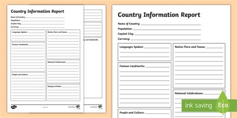 Information Report Template Country A Diverse And Connected World Country Information Report