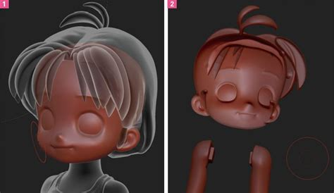 tutorial zbrush cartoon 3d chibi anime zbrush face and hair anime 3d pinterest