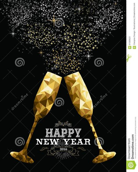 new year greeting gold happy new year 2016 toast glass low polygon gold stock