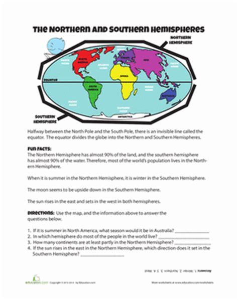 4th grade geography worksheets hemispheres worksheet education