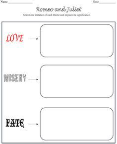 themes of romeo and juliet worksheet 1000 images about romeo juliet on pinterest romeo and