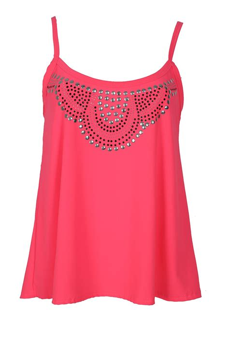 swing tops for ladies ladies womens dress swing top studded camisole diamante