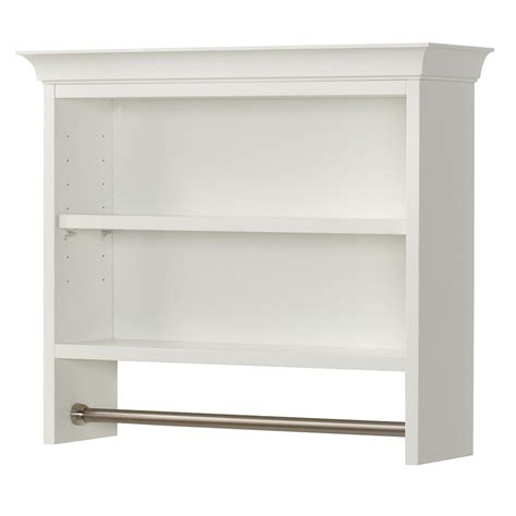 Bathroom Shelves White Home Decorators Collection Creeley 7 1 20 In L 20 1 2 In H X 24 In W Wall Mount 2 Tier