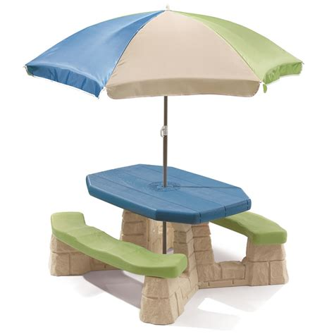 step 2 kids naturally playful picnic table with umbrella step2