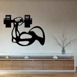 fitness vinyl wall decal bodybuilder dumbbell