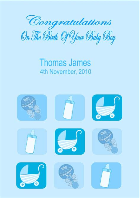 Gift Card Messages For New Baby Boy - personalised new baby boy card design 3