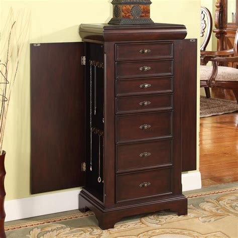 locking jewelry armoire louis alexander 7 drawer locking jewelry armoire jewelry armoires at hayneedle