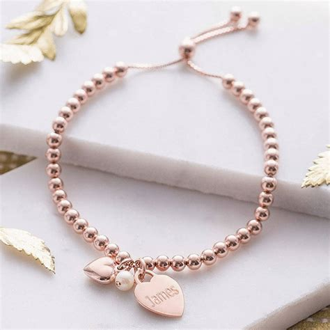 rose gold personalised 18ct rose gold ball slider bracelet by