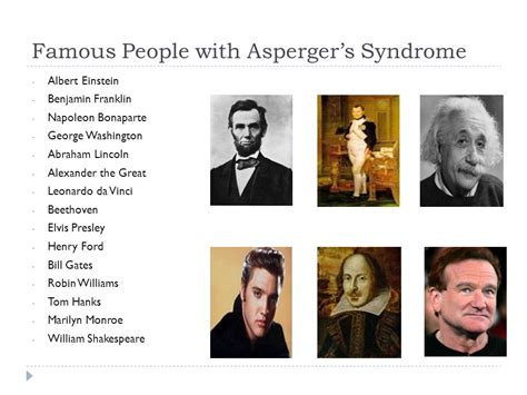 Famous People With Asperger Syndrome | autism asperger s syndrome ppt video online download