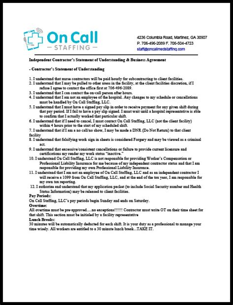 Resources On Call Medical Staffing In Home Care On Call Agreement Template