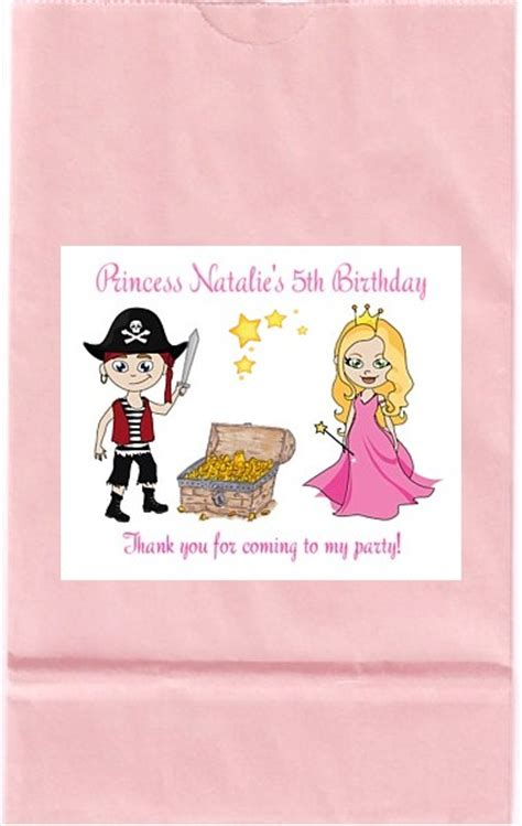 pirate  princess birthday party goodie loot bag labels