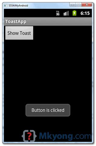 android toast exle mkyong - Android Toast Exle