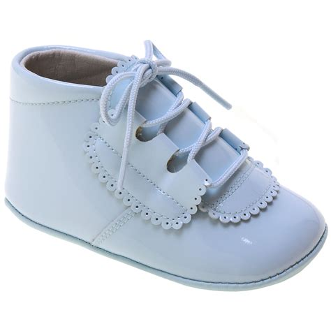 new born sneakers baby boy blue patent pram shoes in leather with scallop