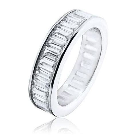 sterling silver baguette cz eternity wedding band ring white cubic zirconia top ebay