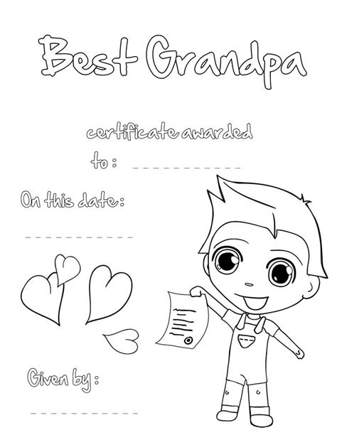 grandparents day coloring pages best grandpa certificate