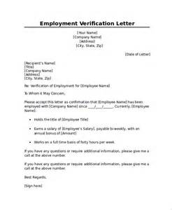 Business Letter Verification Of Employment Sle Employment Verification Letter 7 Documents In