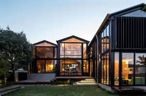 Home New Zealand Architecture Design And Interiors House With 3 Glass Gables Faced With Operable Louvers