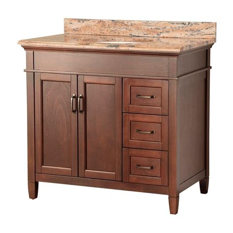 ashburn 37 in w x 22 in d vanity in mahogany with right