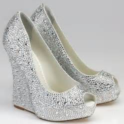 wedding shoes jeweled heels silver rhinestone wedge shoes above gt gt silver wedge bridesmaid shoes with open toe available