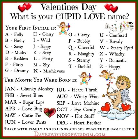 valentines day names daveswordsofwisdom what s your cupid name this