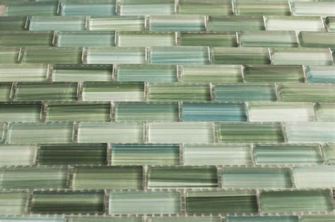 blue green painted glass subway mosaic tile kitchen
