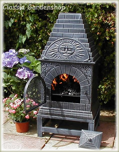 chiminea with pizza oven castmaster outdoor garden xl cast iron pizza oven chiminea