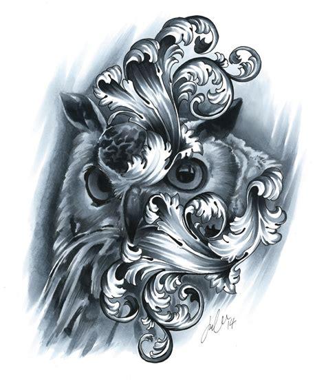 tattoo markers filigree owl copic markers on bristol board drawinssss