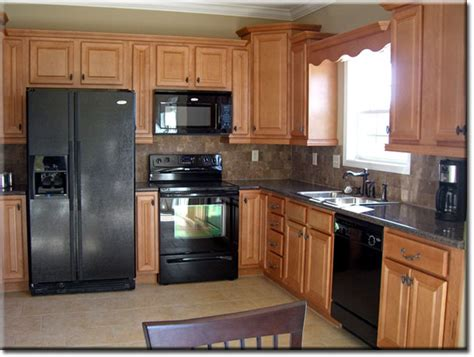 Black Oak Kitchen Cabinets Oak Kitchen Cabinets With Black Appliances Smart Home Kitchen