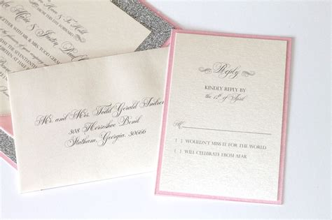 pink and silver wedding invitations embellished paperie gorgeous silver glitter pink