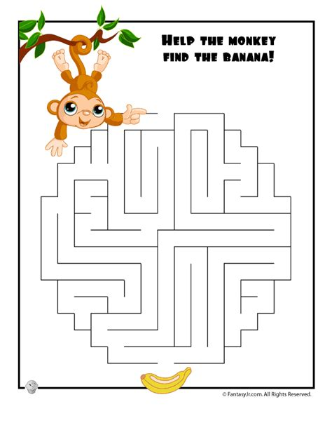 printable monkey maze easy monkey maze woo jr kids activities