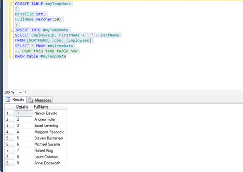 create temp table sql create temporary table in sql server csharpcode org