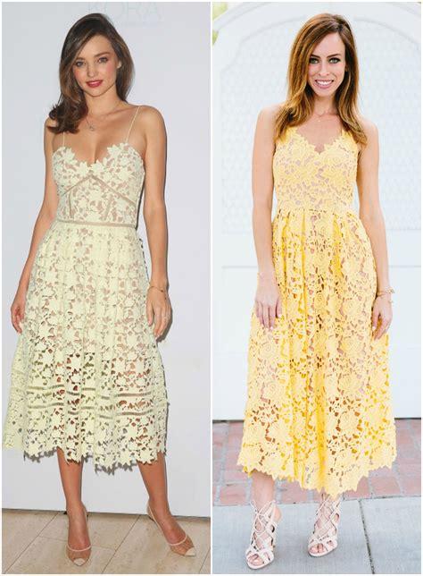 miranda kerrs yellow lace dress celebrity fashion