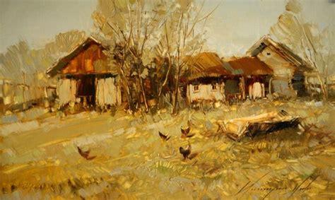 village yard scene landscape painting original oil