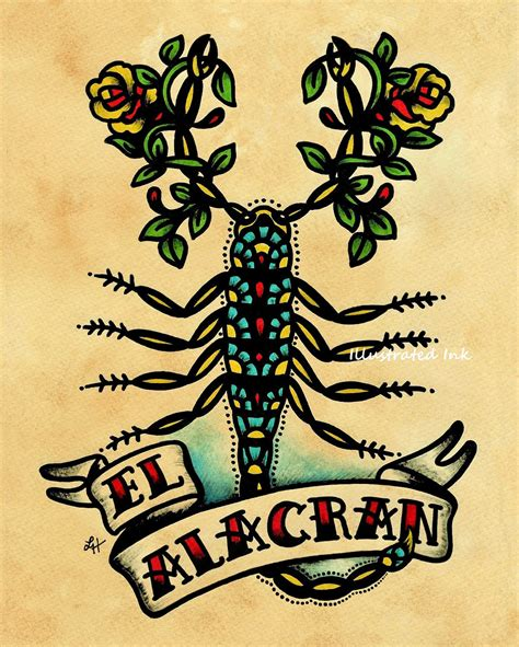 tattoo old school art old school tattoo art scorpion el alacran loteria print 5 x 7