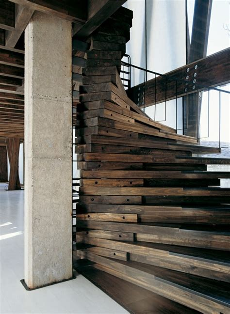 wood staircase wooden stairs chic glitterati